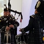 Pipers playing out the delegates at SWLEP Business Growth Conference